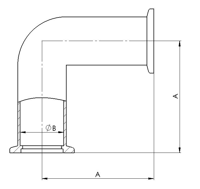 ISO-KF Winkelstück 90° 3.2315