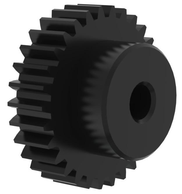 2. Stirnzahnräder aus Kunststoff, schwarz, gefräst