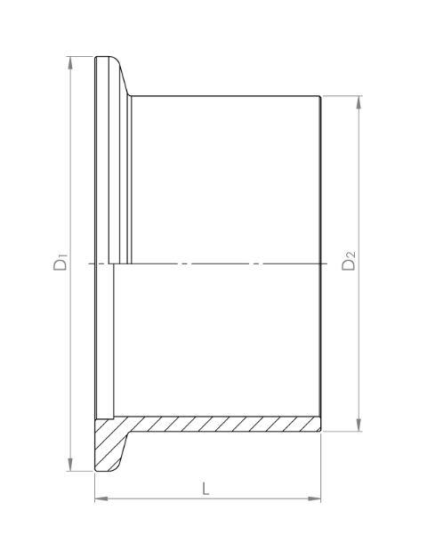 ISO-KF Flansch mit Rohransatz 1.4301