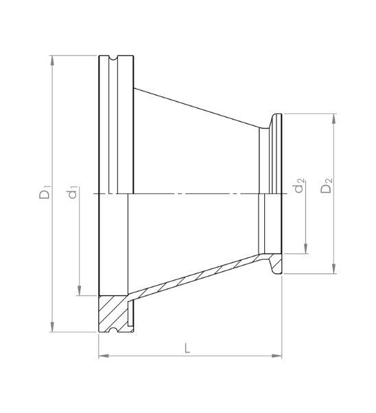 ISO-K / KF Übergang konisch 1.4301