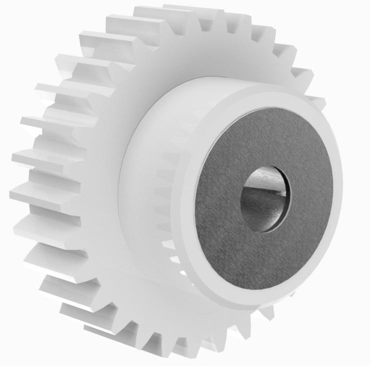 3. Stirnzahnräder aus Kunststoff PA 12 G mit Stahlkern, gefräst